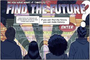 """Gamificación. Página de inicio de """"Find the Future"""", de la Biblioteca Pública de Nueva York"""